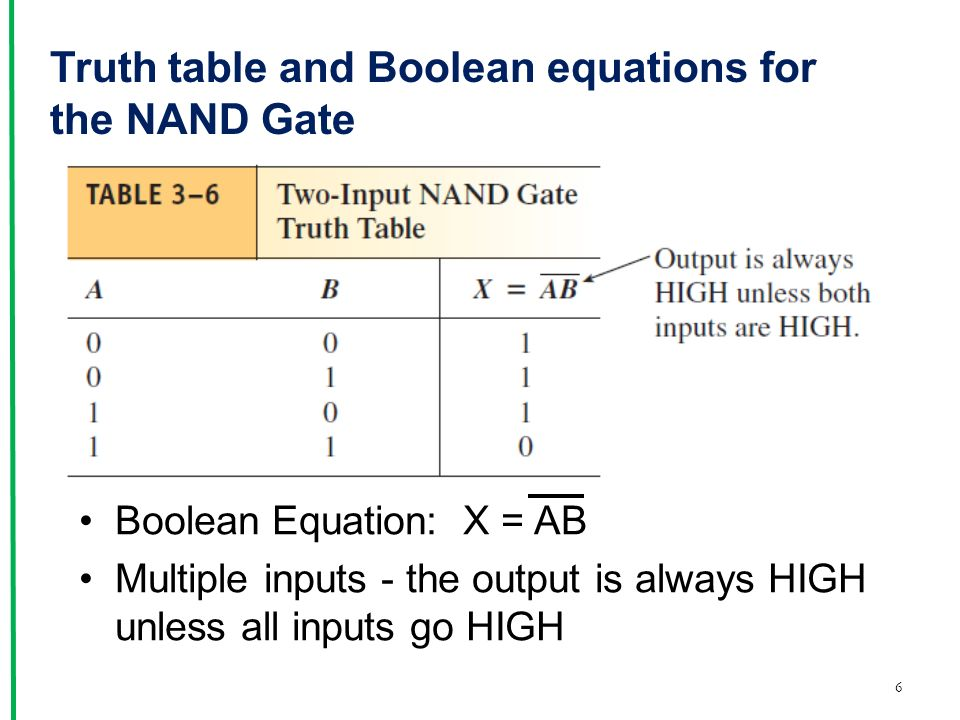 nand gate truth table pdf