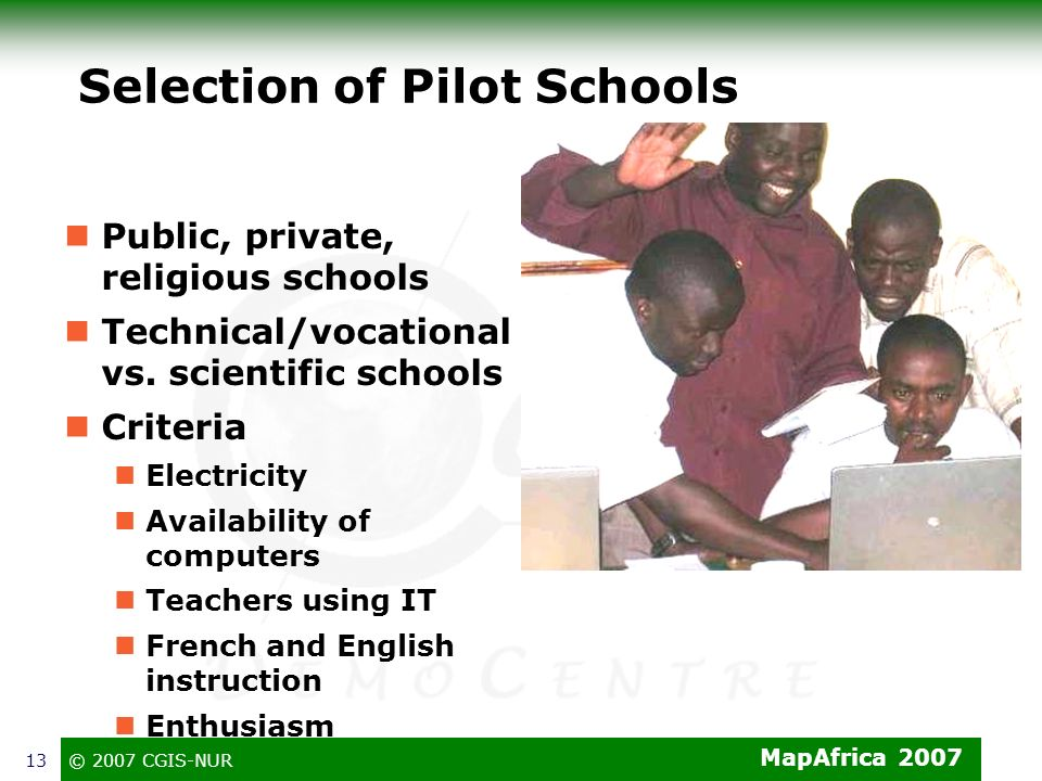 Selection of Pilot Schools