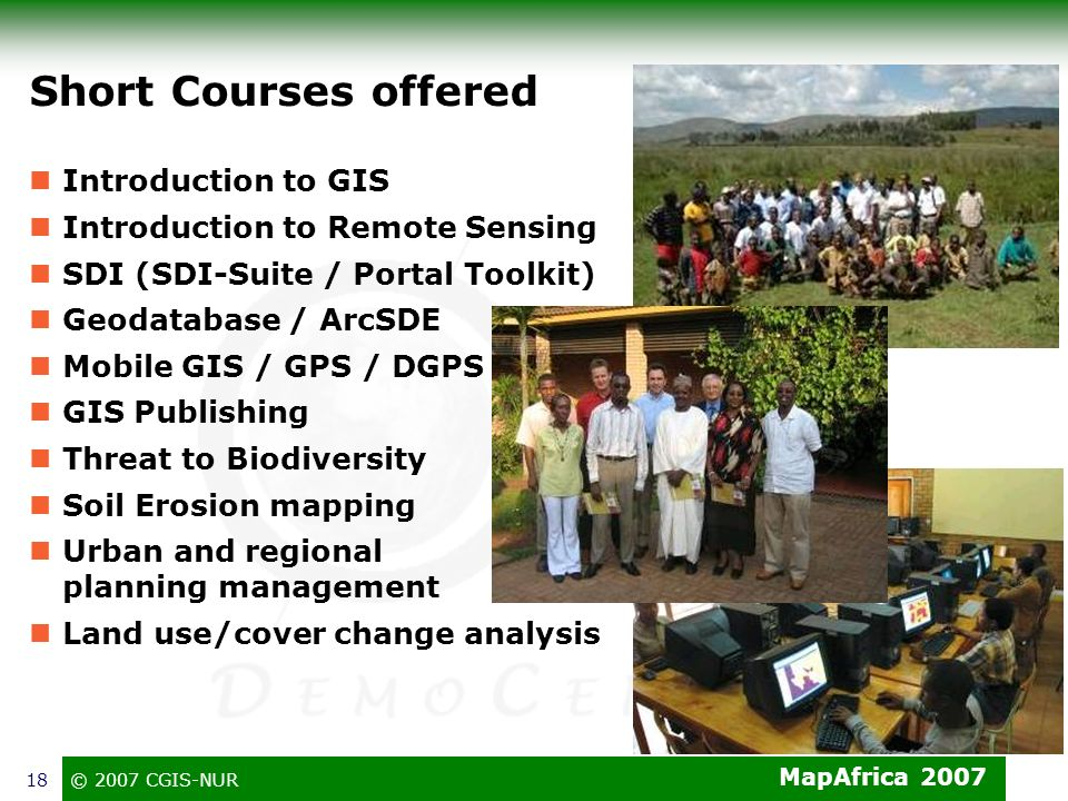 Short Courses offered Introduction to GIS