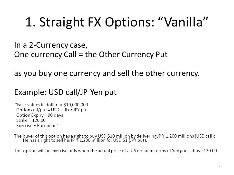 Fx options risk management