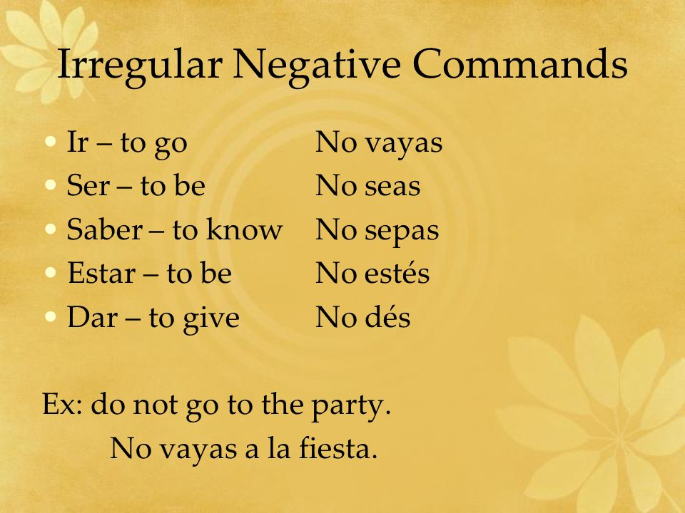 Irregular Negative Commands