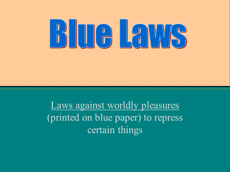 blue laws essay The tc williams legal essay contest catalog is the web's largest collection of  writing competitions for law students essay contents provide students with.