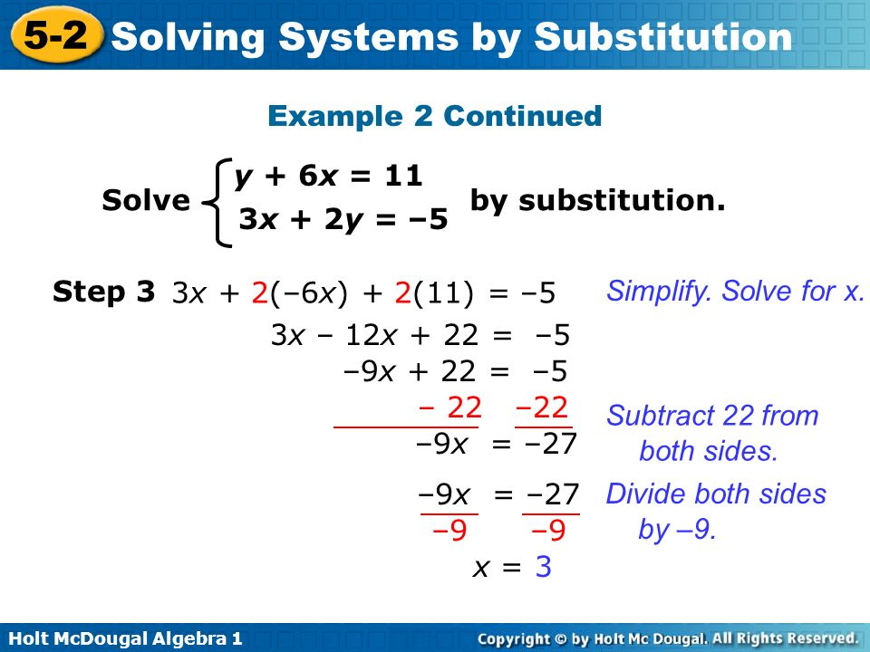 Example 2 Continued y + 6x = 11. Solve by substitution. 3x + 2y = –5. Step 3.