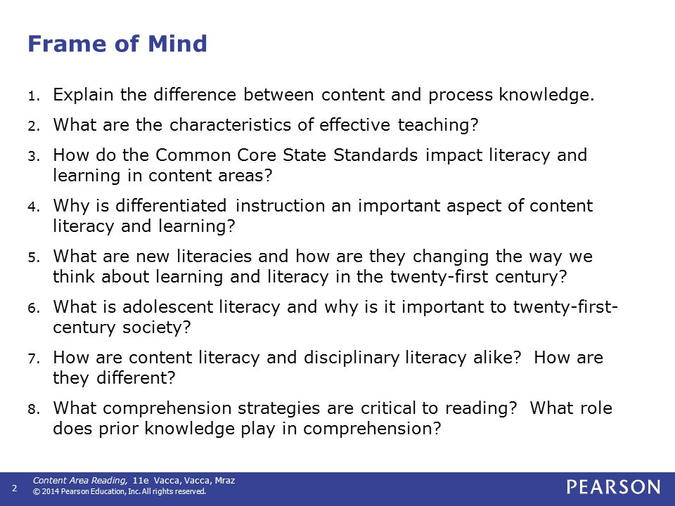 Key Terms Comprehension Content and process Content literacy Decoding