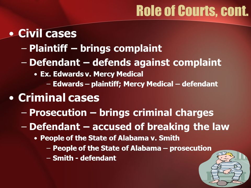 Role of Courts, cont. Civil cases Criminal cases