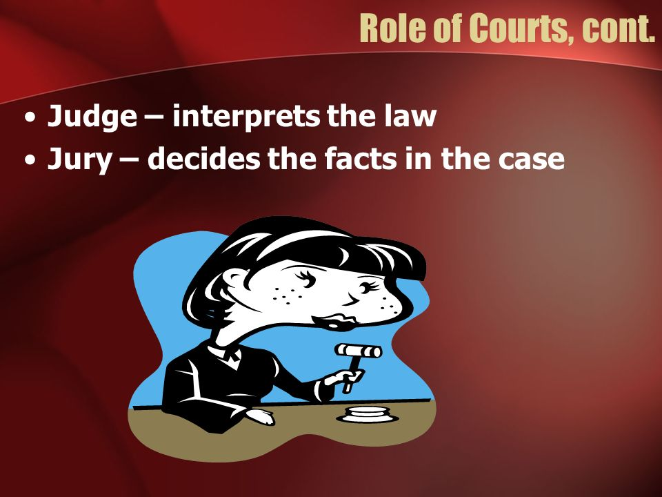 Role of Courts, cont. Judge – interprets the law