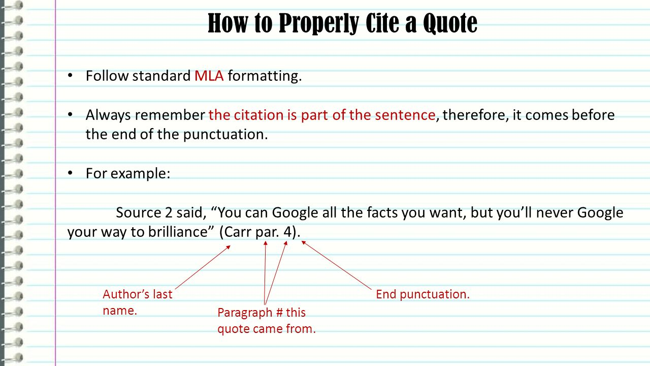 How to properly write a quote in an essay How to Use Quotes