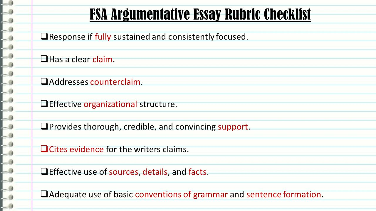 fsa writing argumentative essays english language arts ppt video fsa argumentative essay rubric checklist
