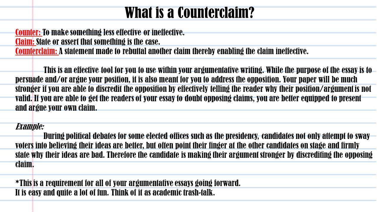 Form a claim for an argumentative essay