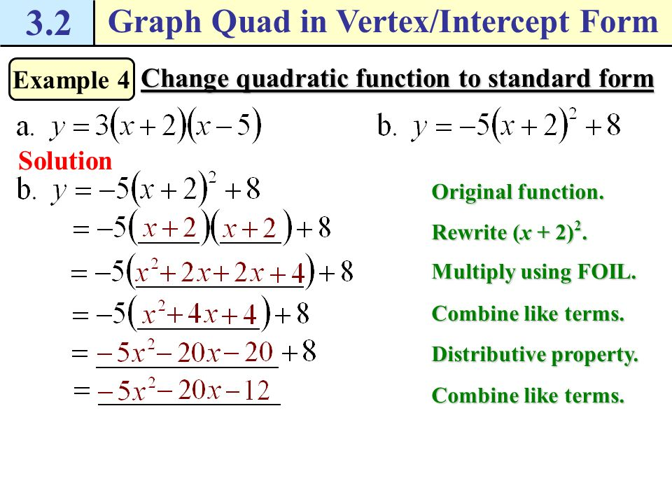 intercept form to standard form quadratic  Write The Quadratic Function In Vertex Form Choice Image ...