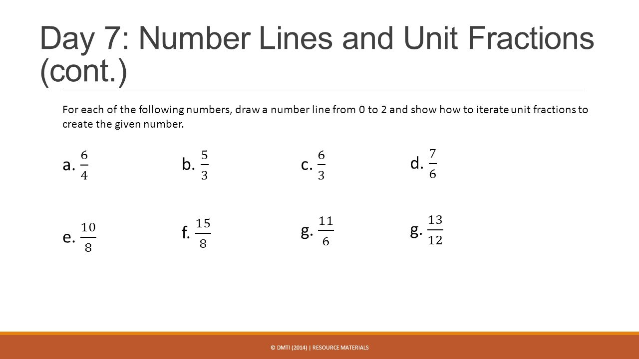 worksheet Create A Number Line dmti 2014 resource materials ppt video online download day 7 number lines and unit fractions cont
