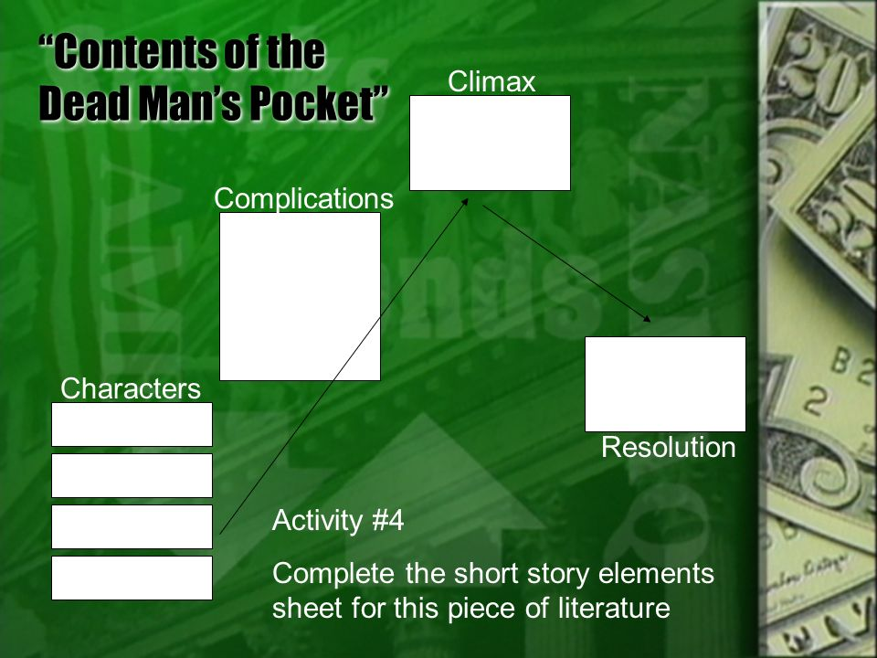characterization essay of contents of a dead mans pockets English essays: contents of the dead man's pockets main character essay.