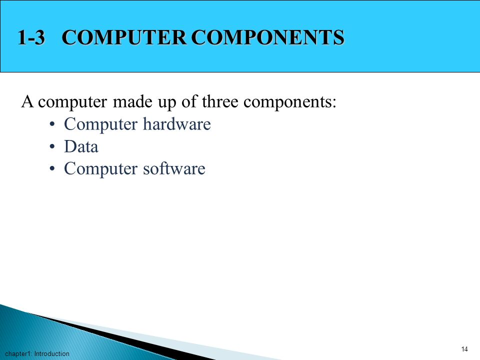 1-3 COMPUTER COMPONENTS A computer made up of three components: