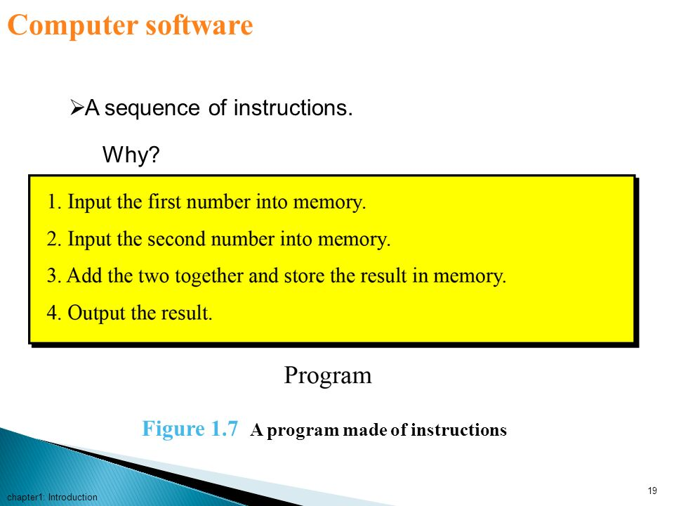 Computer software A sequence of instructions. Why