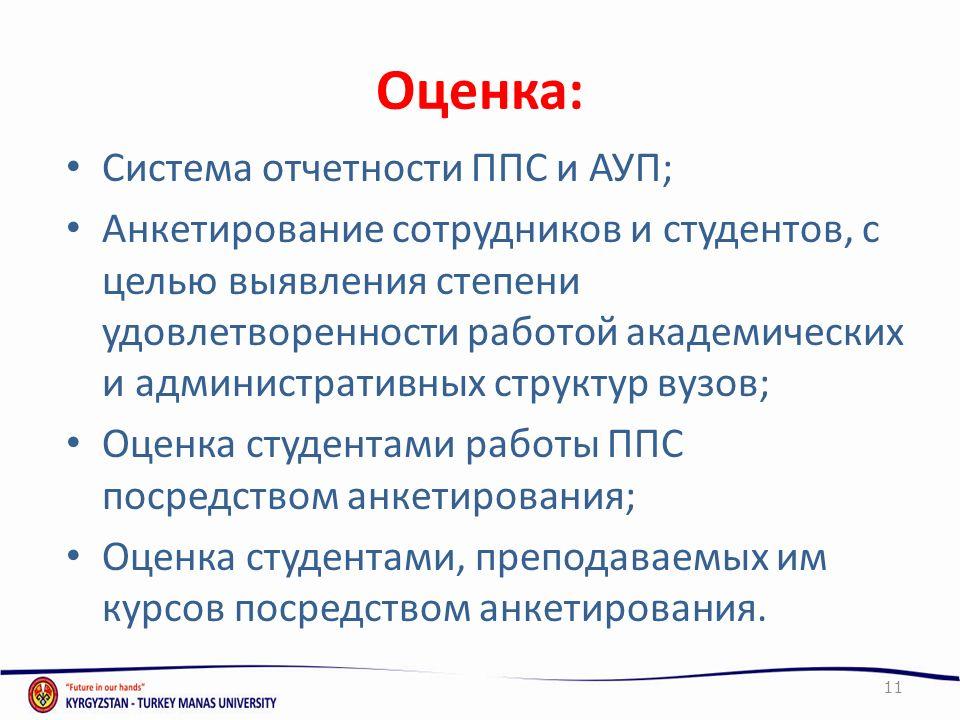 Оценка: Система отчетности ППС и АУП;