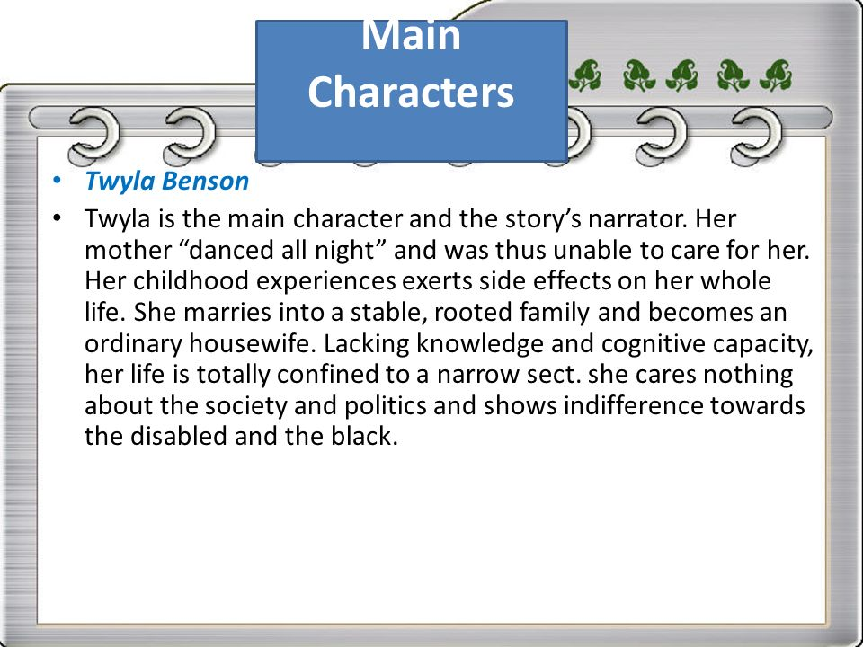 "the story of twyla and roberta in recitatif by toni morrison Need help with recitatif in toni morrison's recitatif check out our revolutionary side-by-side summary and twyla, the narrator, explains that she and roberta were in a shelter called st bonny's because twyla's mother ""danced all night"" and roberta's mother was ""sick"" twyla says that people often feel pity for her when."