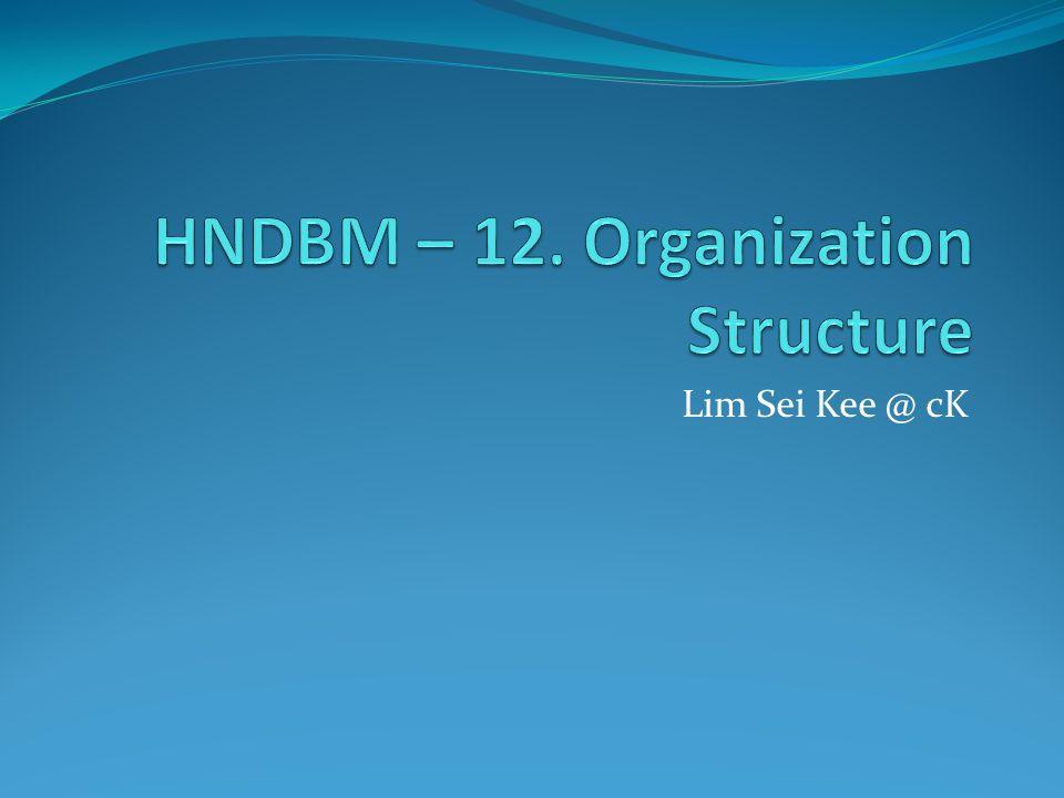 HNDBM – 12. Organization Structure