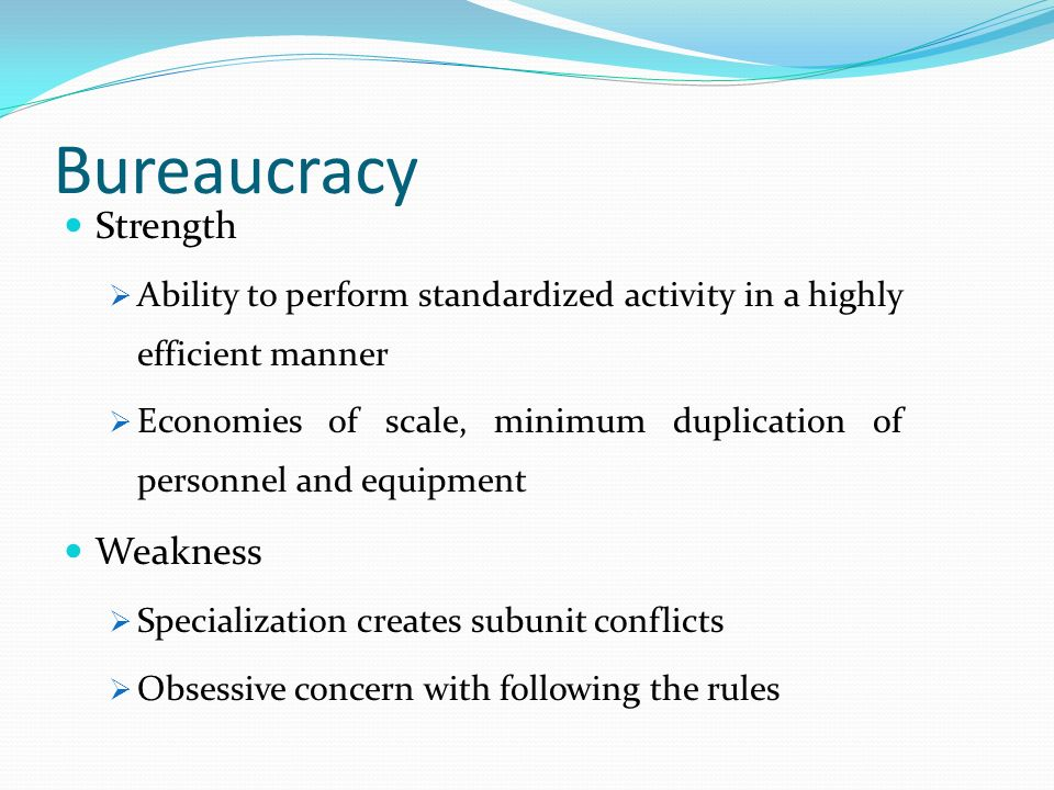 Bureaucracy Strength Weakness