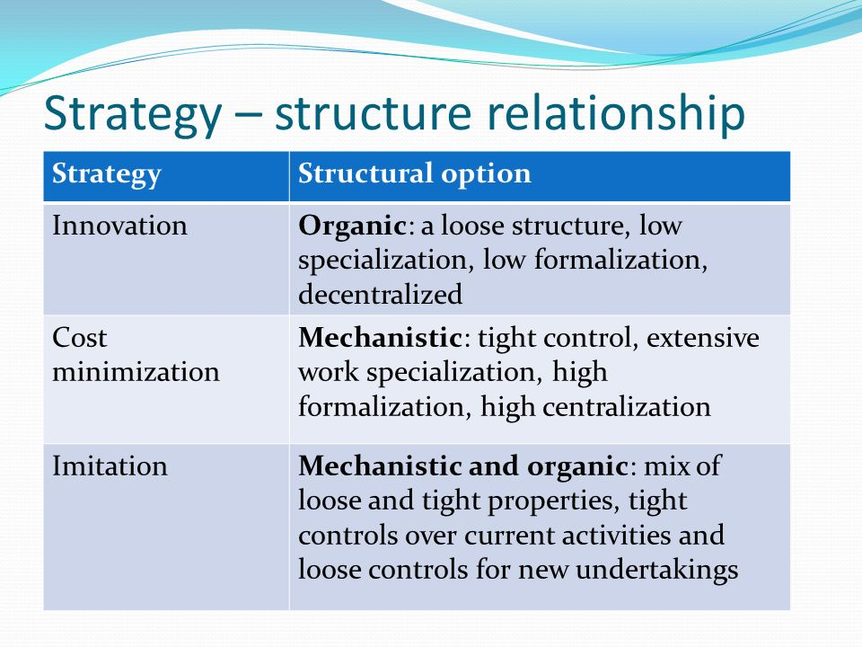 Strategy – structure relationship