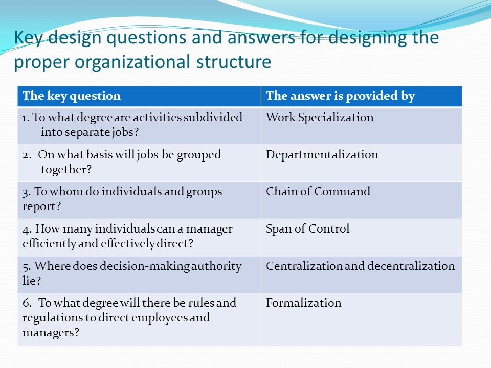 Key design questions and answers for designing the proper organizational structure