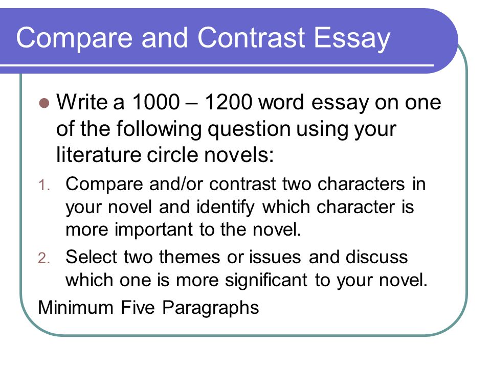 comparison and contrast essay writing powerpoint There are two formats for structuring the compare/contrast essay: block and point-by-point online elementary, middle and high school writing courses experienced writing teachers help students improve writing skills.