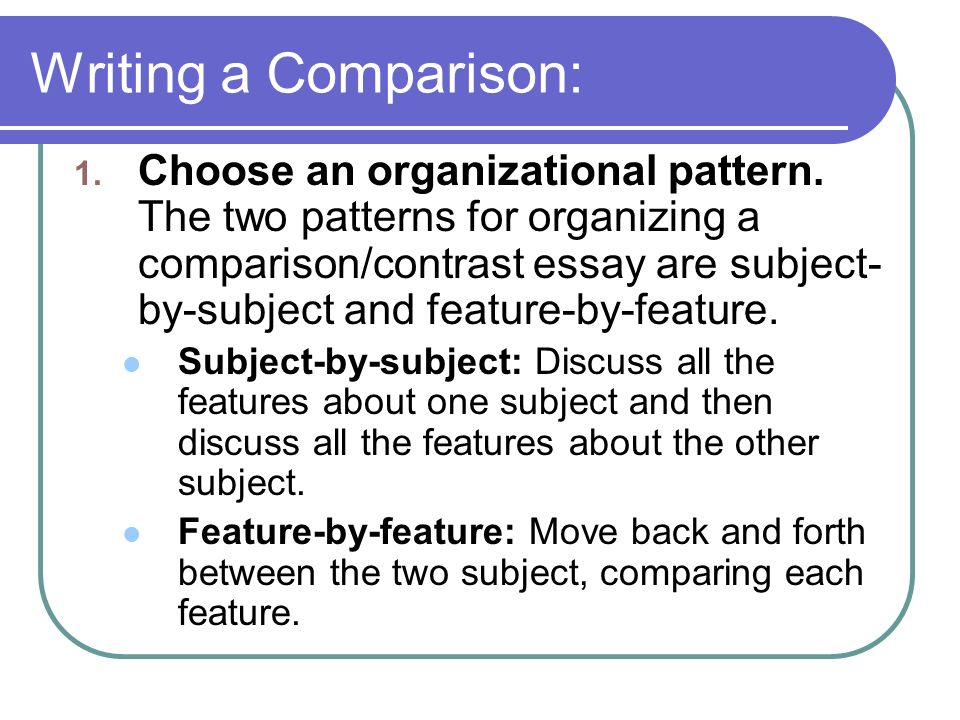 in which pattern of compare and contrast essay organization would you What is a comparison / contrast essay which points you will compare / contrast 3 choose a pattern to organize with the point by point organization.