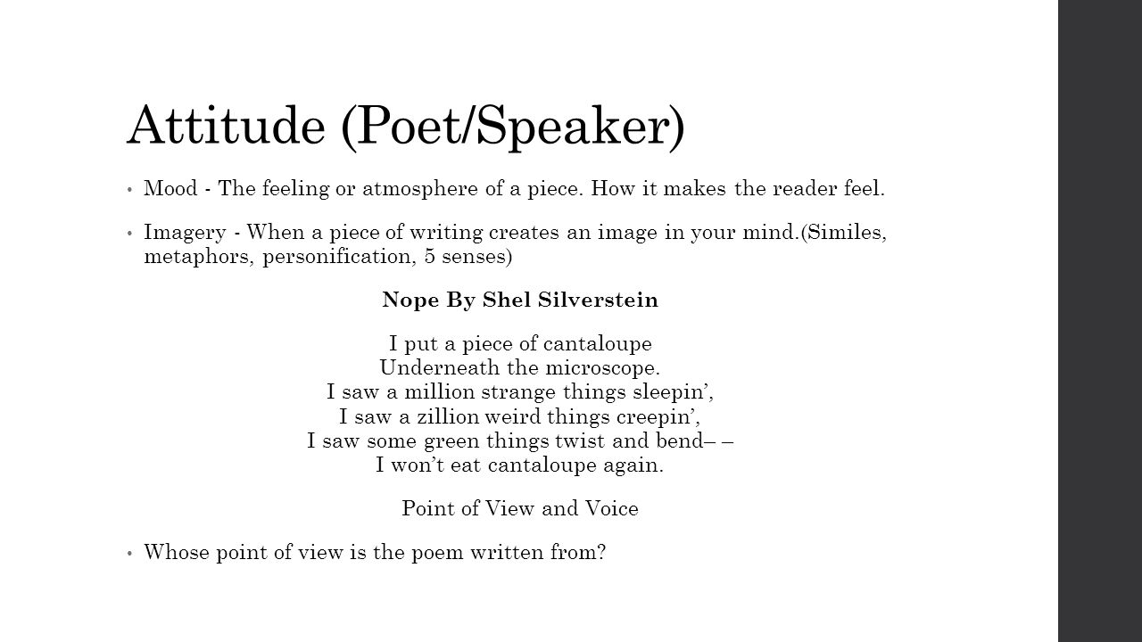 The Voice By Shel Silverstein: Poetry Unit Olgin 4th Grade