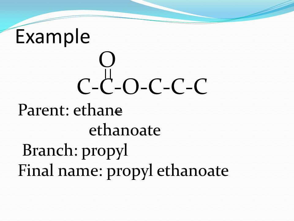 Esters Organic compound formed by the condensation reaction of a ...