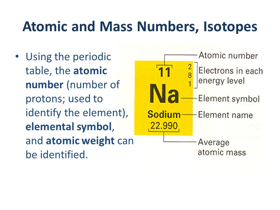 Ii atom periodic table and trends ppt download 24 atomic and mass numbers isotopes using the periodic table urtaz Choice Image