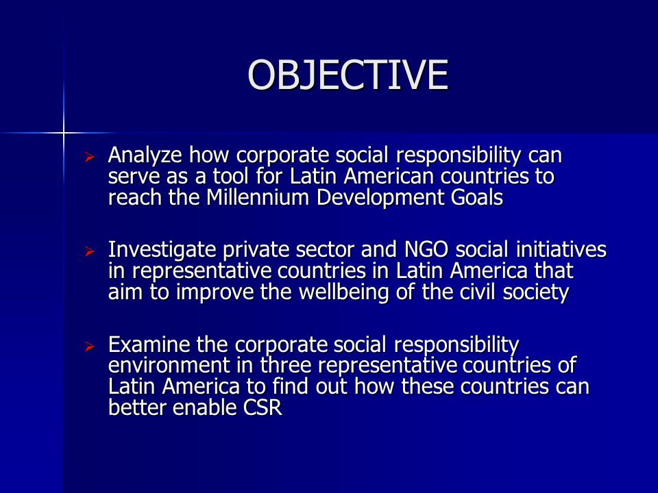 aims and objective of corporate social responsibility in banks Senior vice president lajuana bradford acknowledges the importance of corporate social responsibility goals and aspirations corporate social bank all rights.