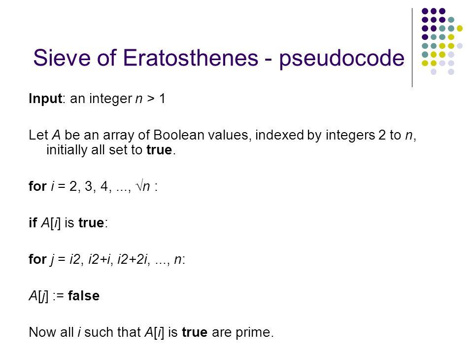 Sieve of Eratosthenes - pseudocode