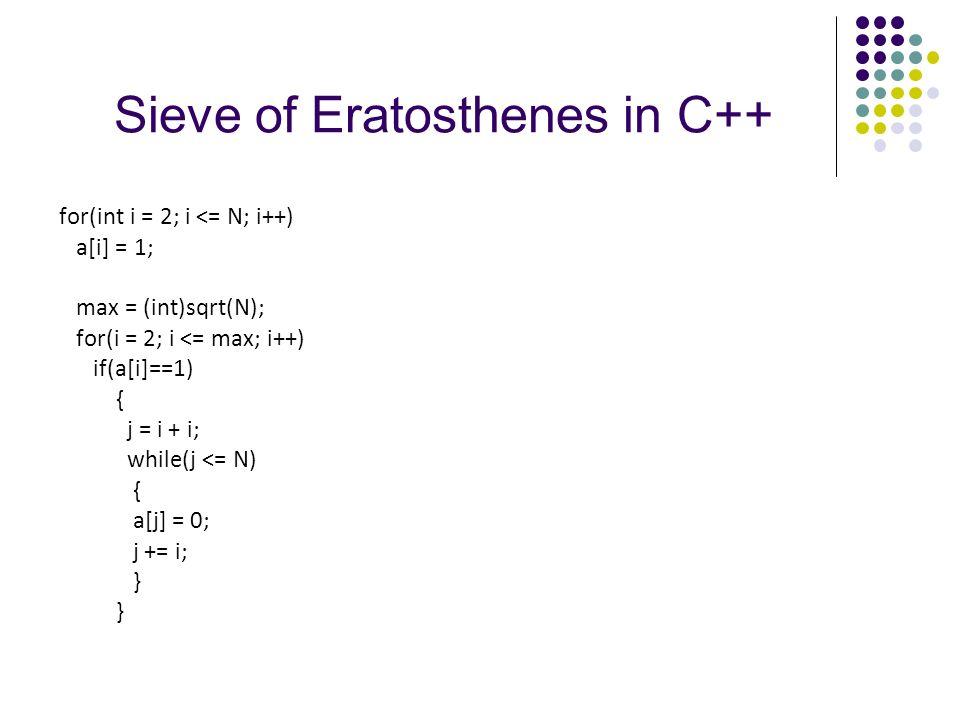Sieve of Eratosthenes in C++