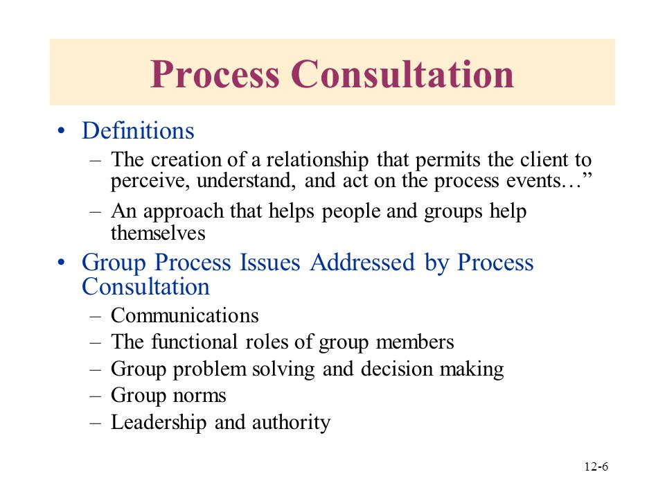 interpersonal and group process approaches Chapter 12 interpersonal and group process approaches 273 finally, boss has presented considerable evidence to support the effectiveness of personal management interviews (pmis) in sustaining the long-term effects of off-site team building47 a pmi is a follow-up intervention that arrests the potential fade-out.