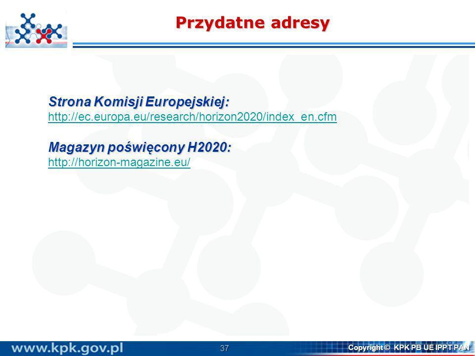 Przydatne adresy Strona Komisji Europejskiej:
