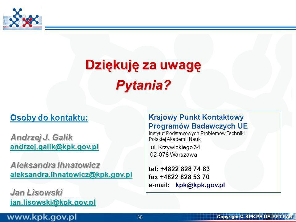 Dziękuję za uwagę Pytania Osoby do kontaktu: Andrzej J. Galik