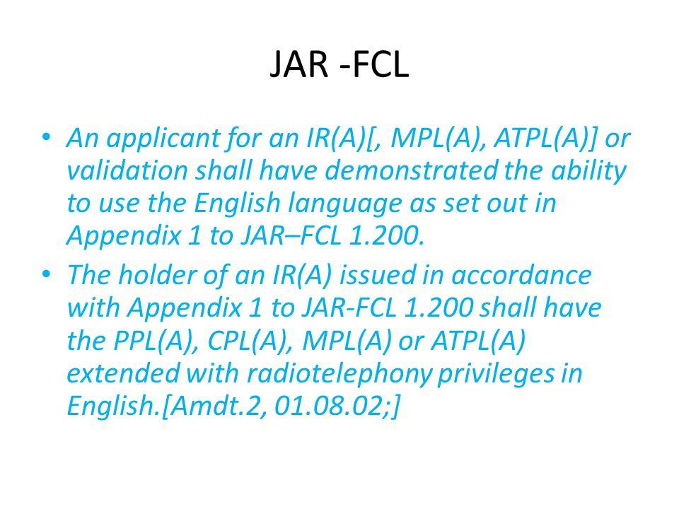 JAR -FCL