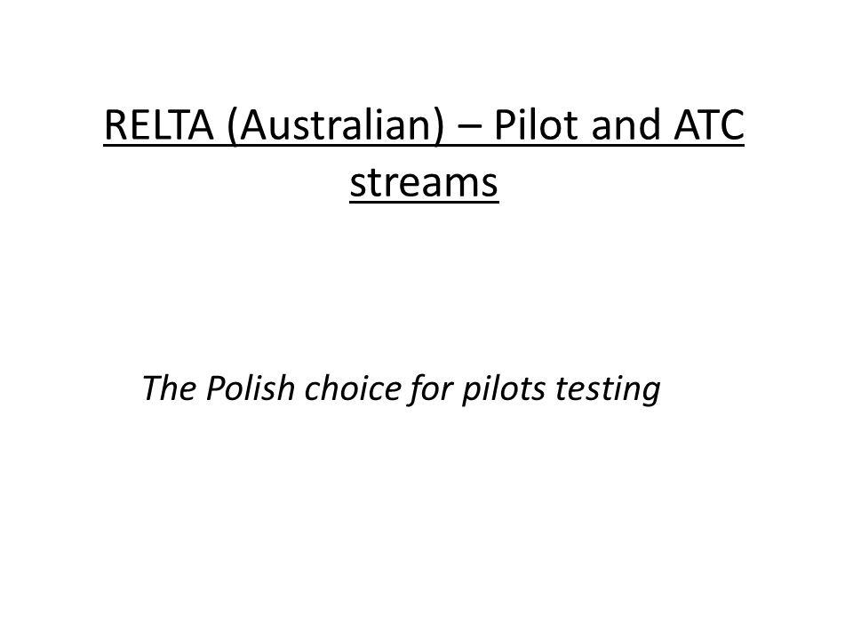 RELTA (Australian) – Pilot and ATC streams