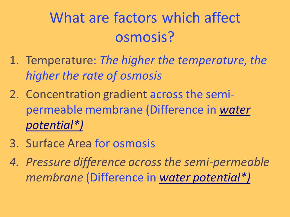 Rate of osmosis concentration