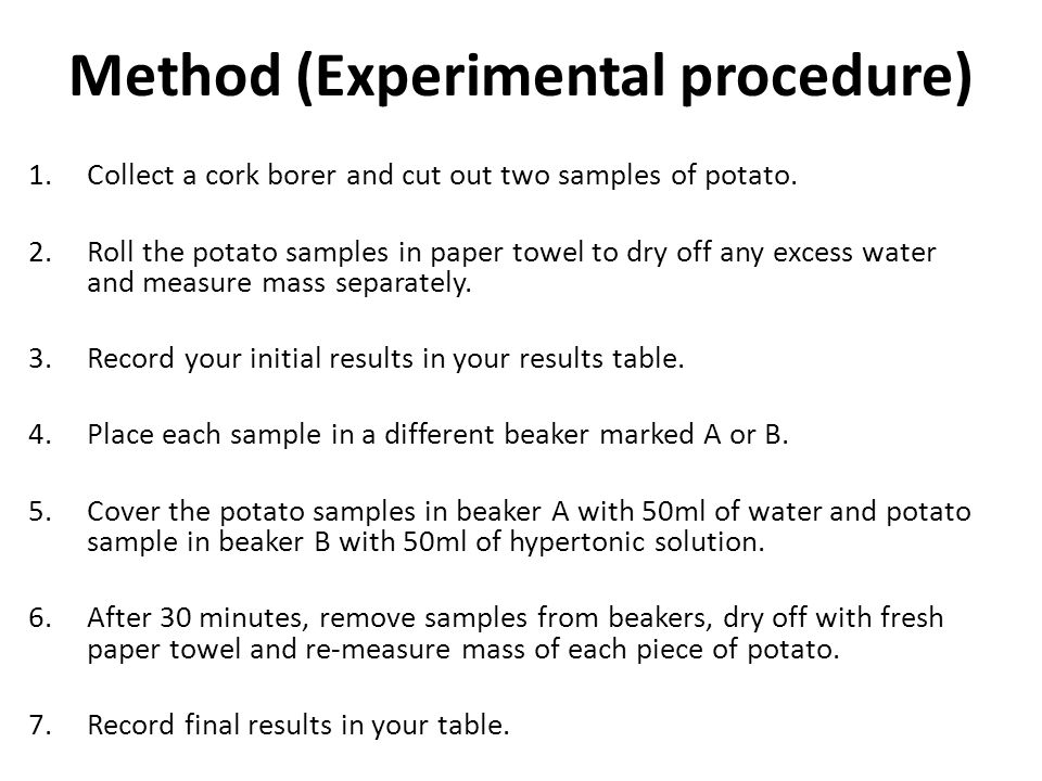 Investigate the effects of osmosis on potato cell sap Essay Sample