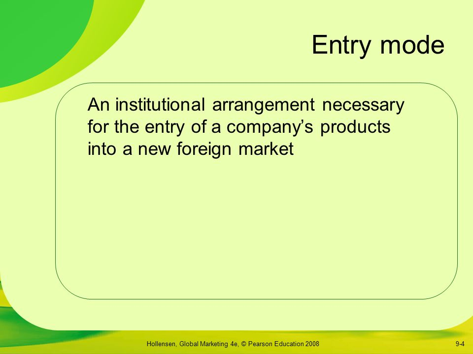 Market entry modes explained by hollensen