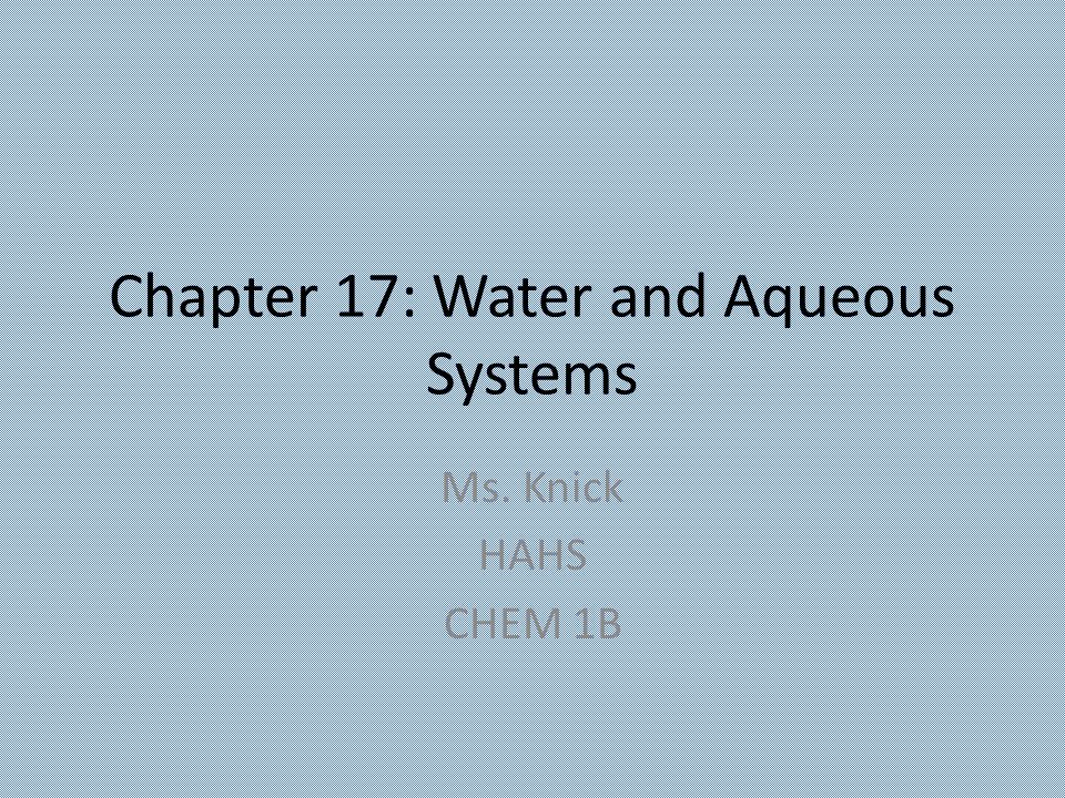 Chapter 17 Water And Aqueous Systems Ppt Download
