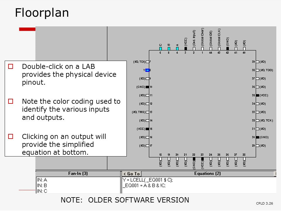 Cpld design basics note we use the altera cpld design Floorplan software