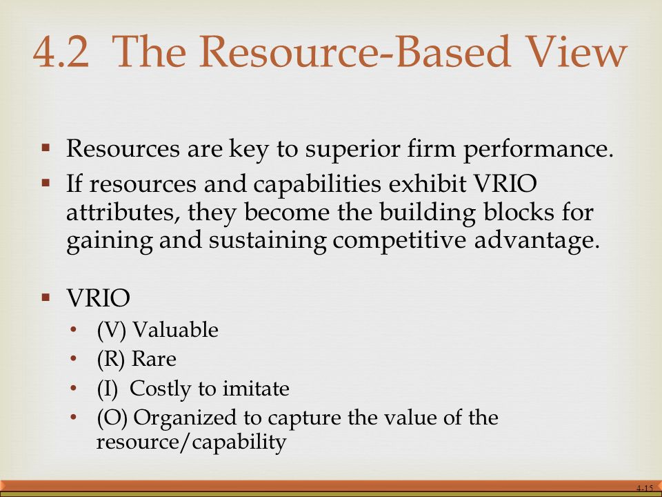 resource based view mcdonalds What are the particular resources and capabilities that mcdonalds has   resource based view framework (rbv) and porter's value chain.