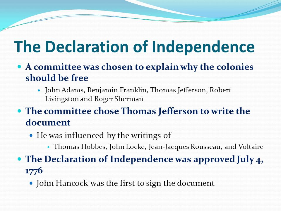 explain why the declaration of independence The declaration of independence was adopted by the continental congress on july 4, 1776 it was a formal statement announcing the independence of the united states of america from the british empire this extraordinary document is at the heart of america's democratic ideals kids can learn to.