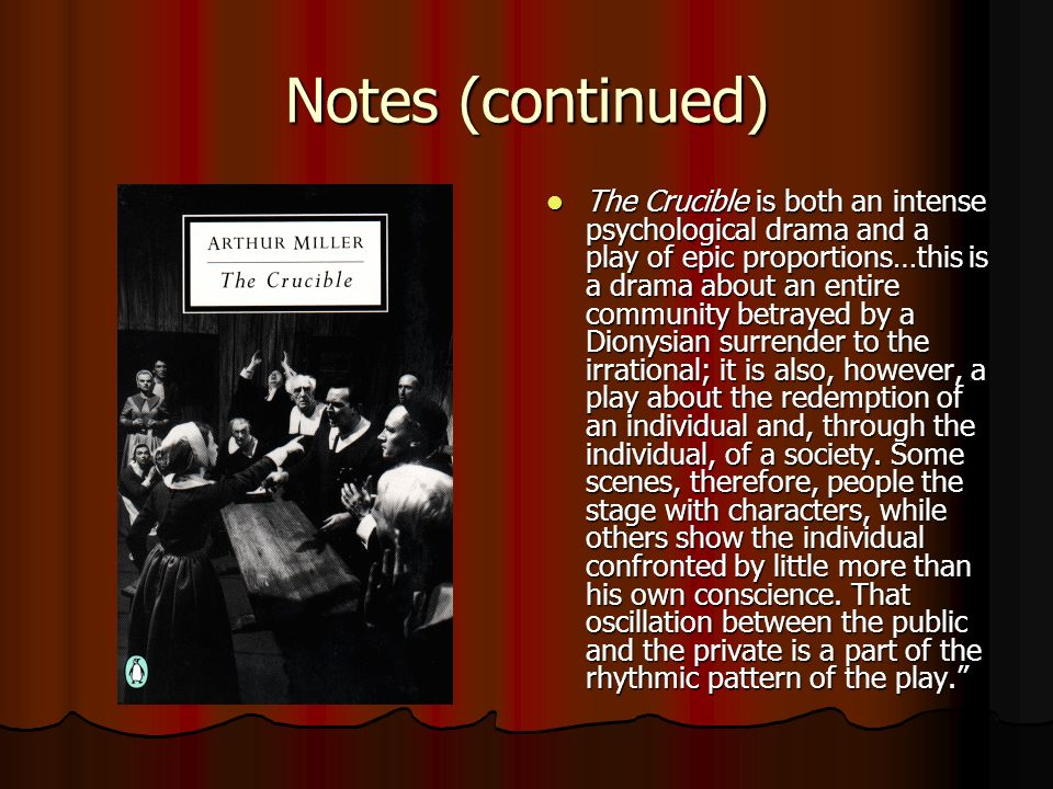 the conflict between individualism and society in arthur millers the crucible We will write a custom essay sample on arthur miller's the crucible: gaining integrity through  the external conflict between john and elizabeth shows john in as .