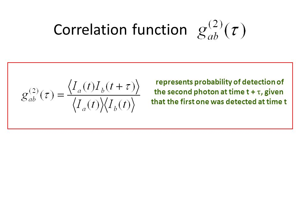Correlation function represents probability of detection of the second photon at time t + , given that the first one was detected at time t.