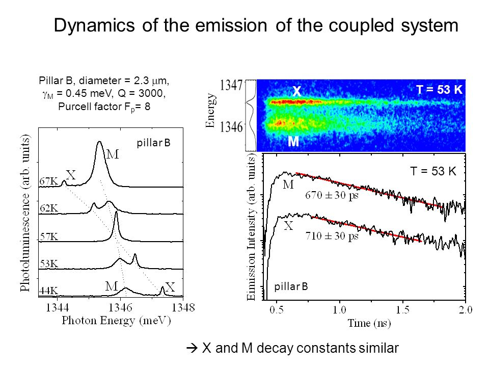 Dynamics of the emission of the coupled system