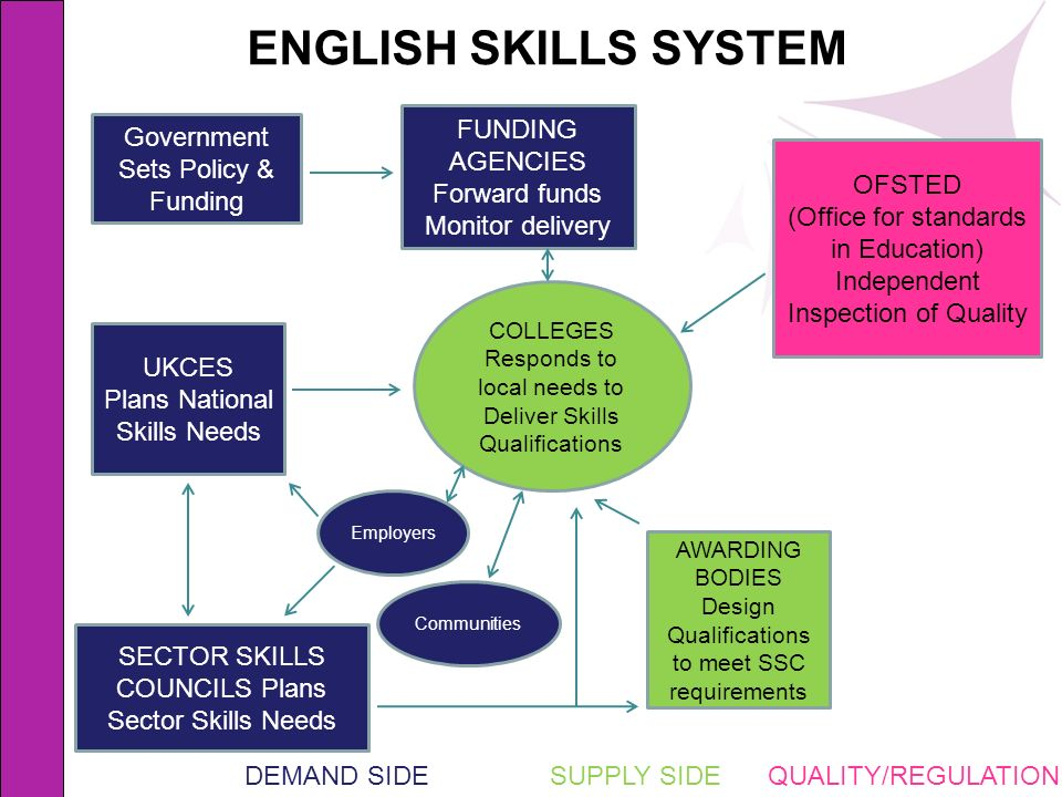 ENGLISH SKILLS SYSTEM FUNDING AGENCIES Forward funds Monitor delivery