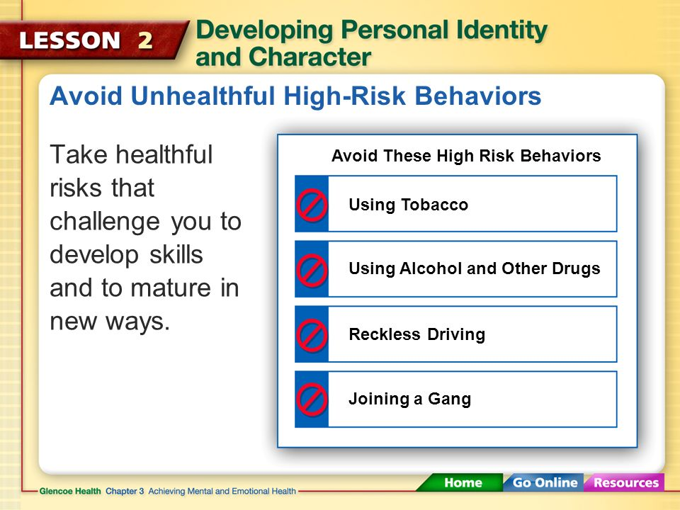 Avoid Unhealthful High-Risk Behaviors