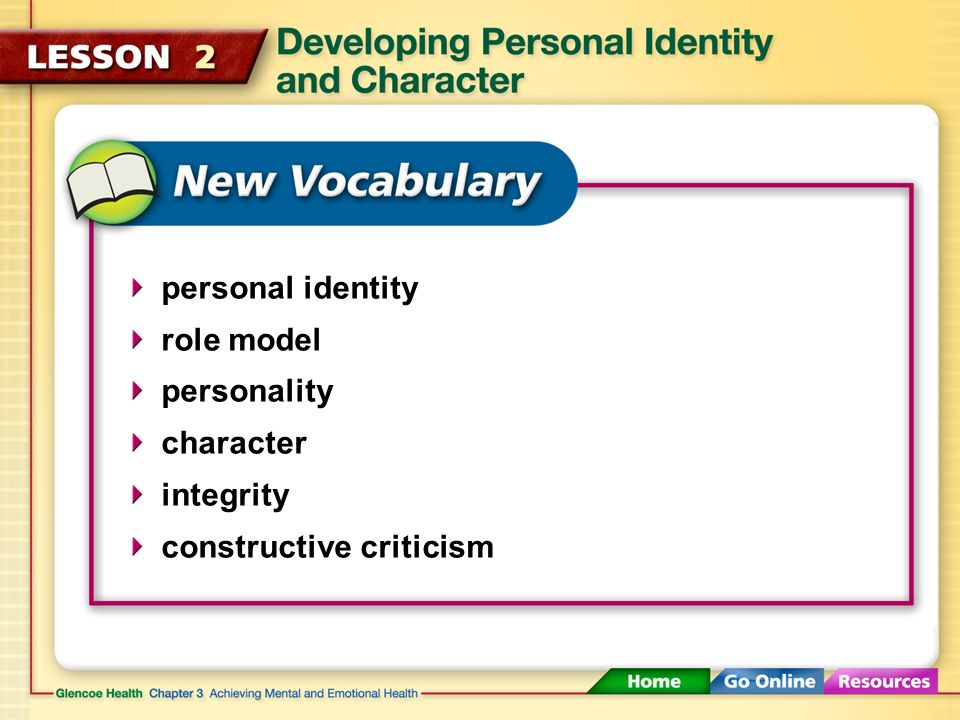 personal identity role model personality character integrity constructive criticism
